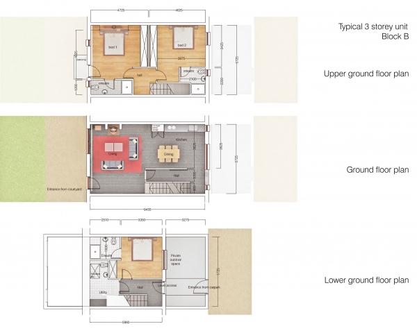 Typical 3 storey unit Block B